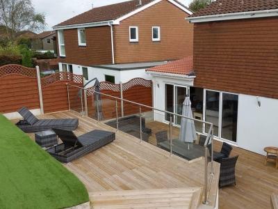 Landscape, Decking, Parex Render DPR, Bifolding Doors, Glass Ballustrade, Artificial Turf, Extension, Fencing