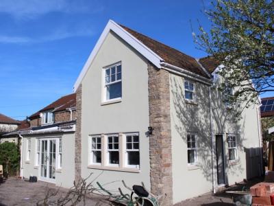 parex, stone masonry, extension, portishead builder, french doors, brittania windows
