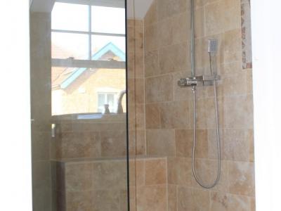 wetroom, shower, free standing shower screen, tiles, chrome