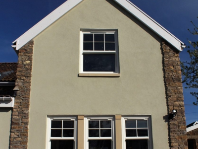 stone masonry, extension, portishead builder, windows, cladding, parex
