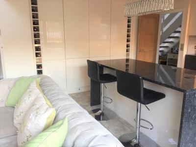 Tiling, kitchen, integral fridge, granite kitchen island