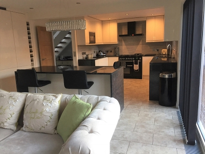Kitchen Island Unit, Tiling, Integral Fridge, kitchen cupboards