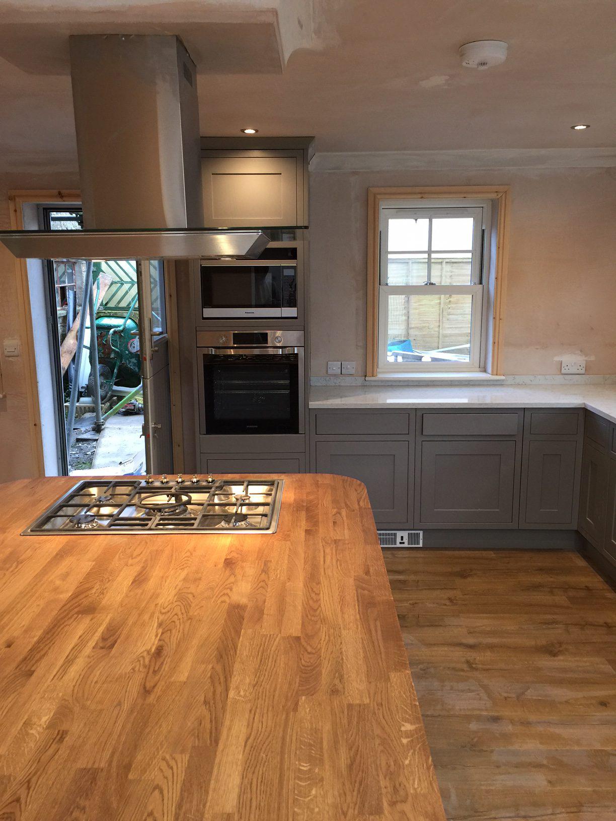 Wooden worktop, kitchen, floorboards, built-in hob
